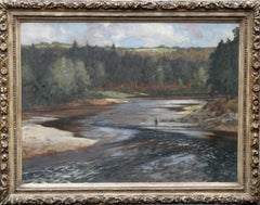 Fisherman on the Upper Spey - British art Scottish river landscape oil painting