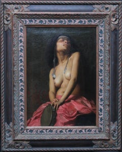 The Tambourine Girl - French 19thC art Orientalist nude portrait oil painting