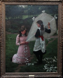 The Kite Flyers, British Victorian Art, Young Girls Portrait Oil Painting