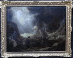 The Annunciation to the Shepherds - Dutch 17thC art religious oil painting