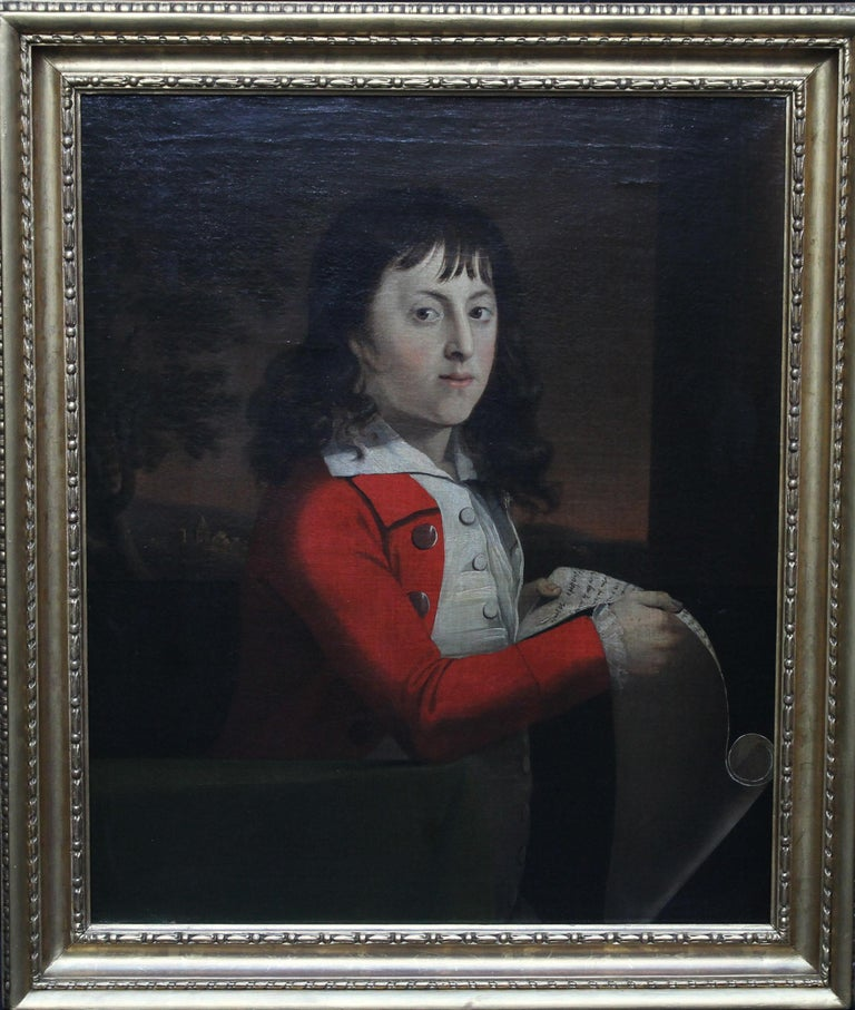 Attributed to Alexander Nasmyth Portrait Painting - Portrait of a Young Boy Thomas Wagstaff - Scottish art 18th century oil painting