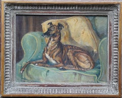Portrait of a Whippet on a Chair - British 1940's art dog portrait oil painting