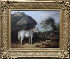 The Farmyard - British Victorian exhibited art animal landscape oil painting