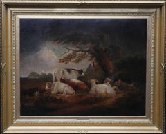 Cattle at Rest in a Landscape - British 18th century art pastoral oil painting