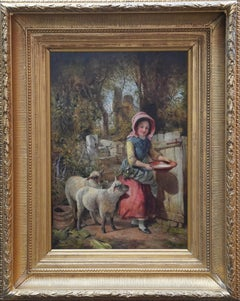 Young Girl with Two Lambs - British art Victorian genre pastoral oil painting
