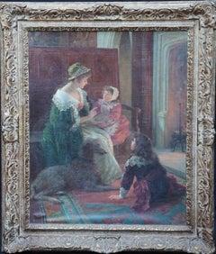 The Goblin Story - British Edwardian exhib art figurative interior oil painting