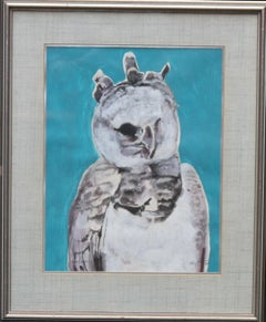Ural Owl 1975 - Expressionist art animal watercolour gouache bird painting