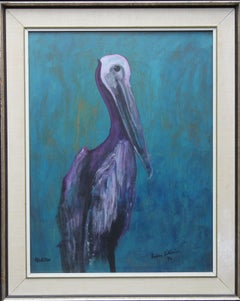 Pelecan 1976 - Expressionist animal art watercolour/gouache bird painting