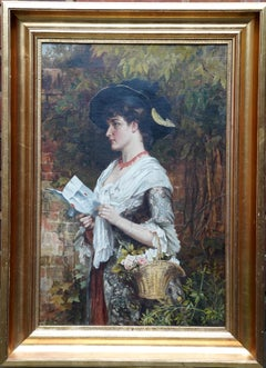 The Letter - British Victorian genre art female portrait oil painting garden