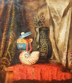 Still Life of Nautilus Shell and Pots - British 20's art still life oil painting