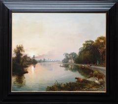 River Isis near Oxford at Twilight - British 19th century landscape oil painting