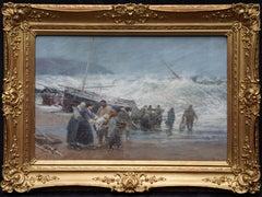 Fisherfolk on Shore - British 19th century art marine seascape oil painting