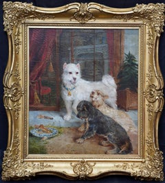 Interior Scene with Dogs - British Victorian art Dog portrait oil painting