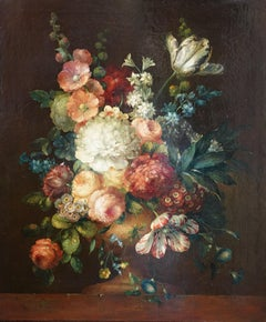 Still Life Floral with Hollyhocks - Dutch 18thC art Old Master oil painting