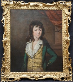Portrait of Boy in Yellow Waistcoat - British 18thC art Old Master oil painting