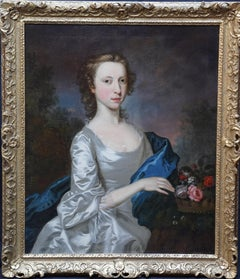 Portrait of a Lady in Silver Dress - Scottish 18thC art Old Master oil painting