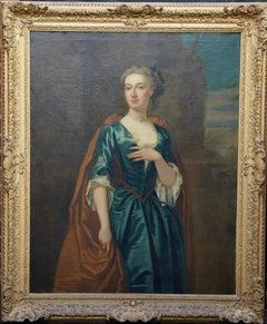 Portrait of Mrs James Hoste - British 18th Century art Old Master oil painting