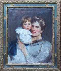 Portrait of Florence Parkinson and son Haviland - British Victorian oil painting