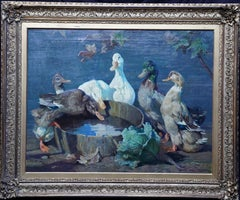 A Bevy of Ducks - British 1920's RA exhibited art animal portrait oil painting