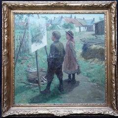 The Young Art Critics - Scottish Edwardian art portrait landscape oil painting