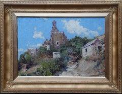 Hillside Village - Scottish 1920's art  Impressionist landscape oil painting