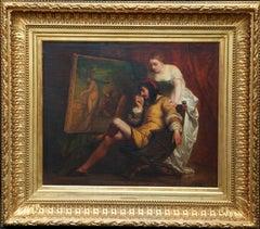 The Art Lover - Belgian 19th century art interior portrait oil painting