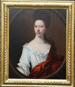 Portrait of Mrs Harborough - British 18th century art portrait oil painting