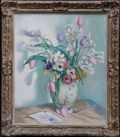 Spring Birthday - Scottish art 50's floral still life oil painting tulips lilac