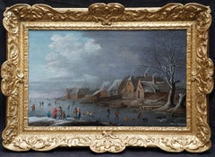 Skaters on a Frozen River - Dutch 17th/18th century river landscape oil painting
