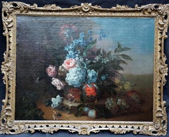 Floral Still Life in Basket - Franco Flemish art Old Master flower oil painting