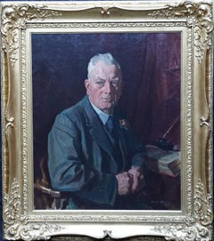 Portrait of a Gentleman in an Interior - Scottish art oil painting Society of 8