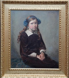 Portrait of a Young Girl with Hairband - Scottish 1914 art oil painting