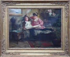 Out of Mischief - British Victorian 1891 art interior portrait oil painting