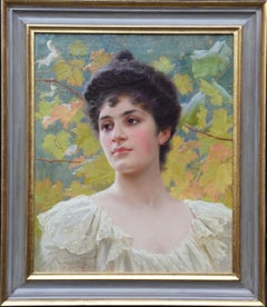 Portrait of a Young Lady with Leaves - French 1900 Victorian art oil painting