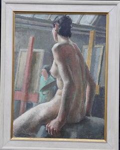 Nude Model in Studio - British Art Deco female nude oil painting life class