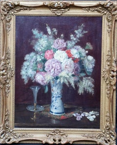 Floral Arrangement in Porcelain Vase - French 19thC art  flower oil painting