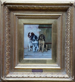 Portrait of Three Dogs - French Victorian animal art oil painting