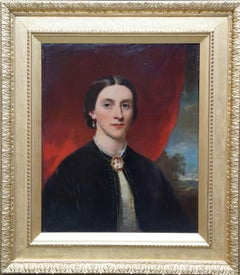 Portrait of a Lady with Cameo Brooch - British 19th century art oil painting