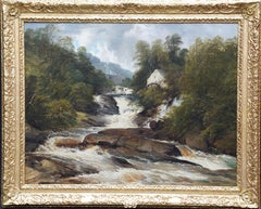 Mill on Ogwen River, North Wales - British Victorian art landscape oil painting