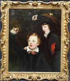 Portrait of Two Boys with a Bird - British 18th century Old Master oil painting