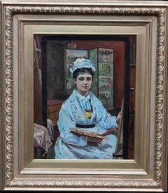 Self Portrait - British Victorian Realist oil painting exhibited female artist