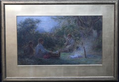 Gypsies Around a Camp Fire - British Victorian painting pastoral landscape art