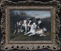 Foxhounds in a Landscape - British 19thC art animal artist dogs oil painting