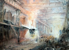 The Furnace - British art painting steel works interior - Industrial Factory