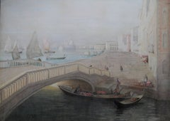 Venice - Scottish 19thC 'Glasgow Boy' artist seascape painting Venetian bridge