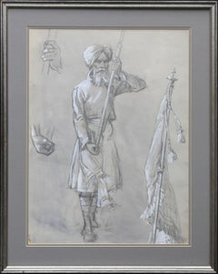 Portrait of a Sikh Soldier - Australian art Anzac WWI drawing Gallipoli flag