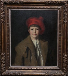 Portrait of Child in Red Tam O'Shanter Hat - Irish 20s art portrait oil painting