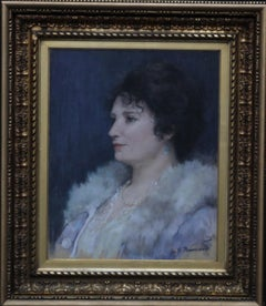 Portrait of a Lady - British art 20s portrait painting exhibited female artist