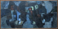 Lock by Night - British Abstract Expressionist 1960's exhibited oil painting art