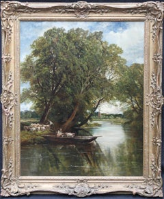 The Sheep Ferry - British Victorian Impressionist river landscape oil painting